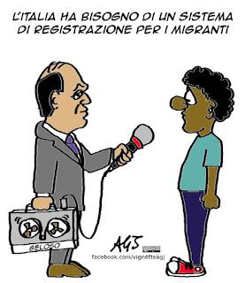 Alfano, migranti, registrazioni, vignetta, satira