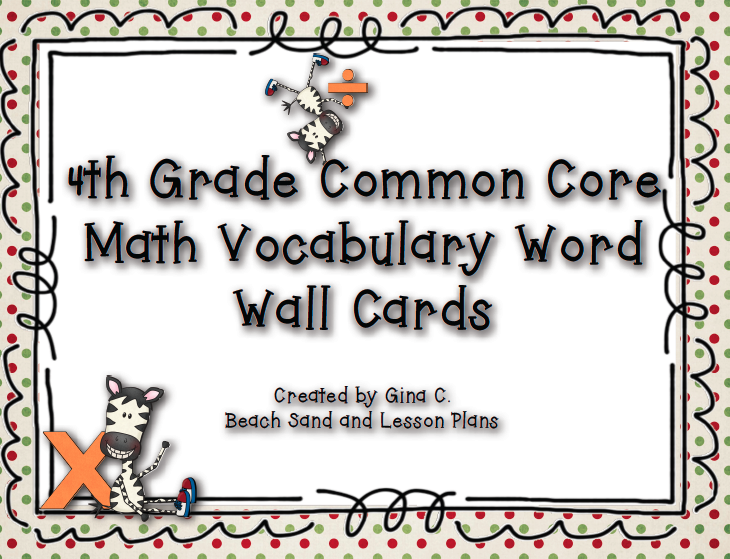 Common Core Activities Math Vocabulary Word Wall Cards