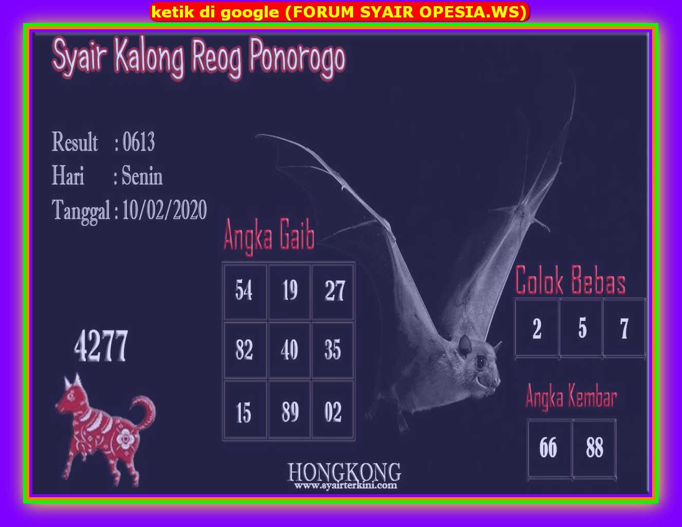 Kode syair Hongkong Senin 10 Februari 2020 107