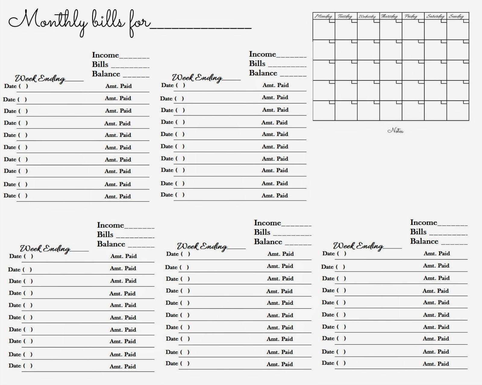 Glenda S World Worksheet To Keep Track Of Paid Monthly Bills