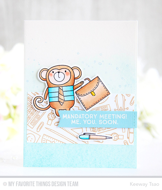 Handmade card from Keeway Tsao featuring Cheeky Monkey and Get Down to Business stamp sets and Die-namics, and Blueprints 29 Die-namics #mftstamps