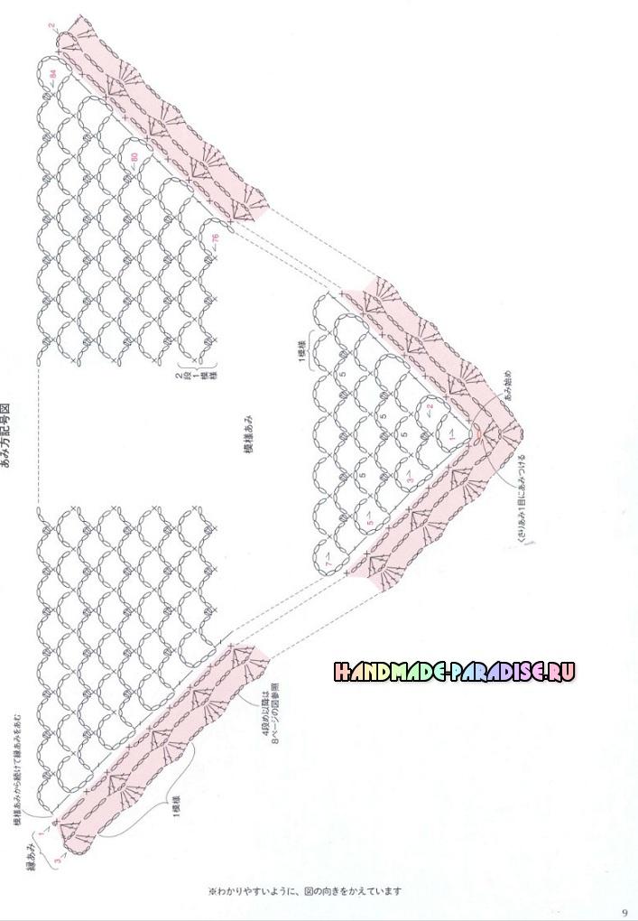 вязание ажурных шалей крючком схемы и описание