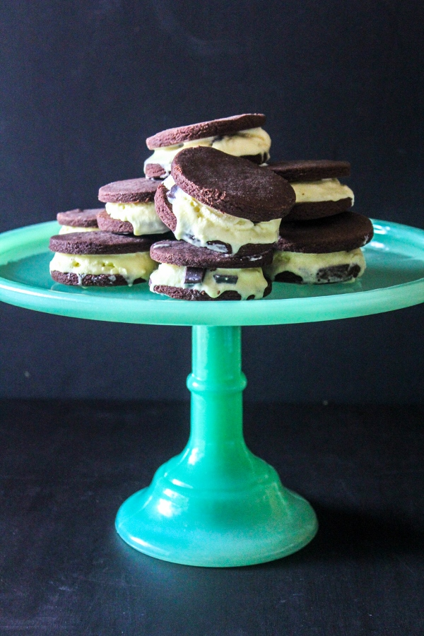 There's not much better on a hot summer day than a scoop of homemade mint chocolate chunk ice cream sandwiched between two freshly baked chocolate wafer cookies!