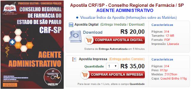 Apostila CRF SP 2017: Cargos AGENTE ADMINISTRATIVO