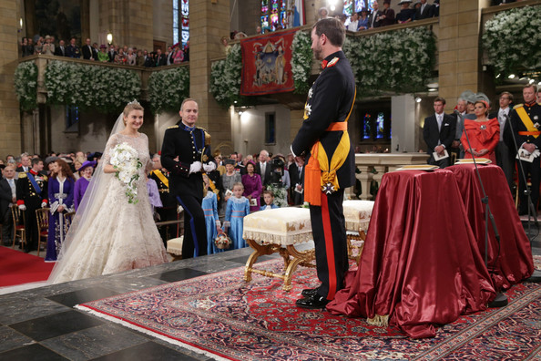 Princess Stephanie of Luxembourg and Crown Prince Guillaume of Luxembourg are seen exchanging rings during their wedding ceremony at the Cathedral of our Lady of Luxembourg