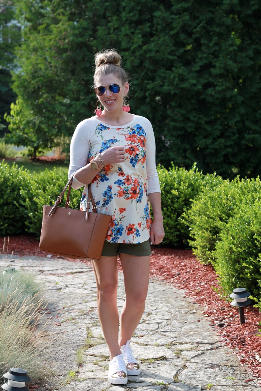 PinkBlush floral baseball tee, olive shorts, gold capped white tennis shoes, second trimester summer maternity outfit, Tory Burch tote