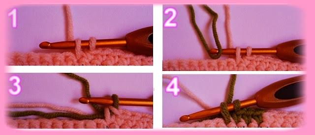 طريقة تغيير اللون في غرز الكروشيه.  كيفية تغيير لون الخيط في الكروشيه. crochet . تغيير اللون في الكروشيه . تعلم الكروشيه . دروس تعلم الكروشيه  . طريقة تغيير اللون في غرز الكروشيه.