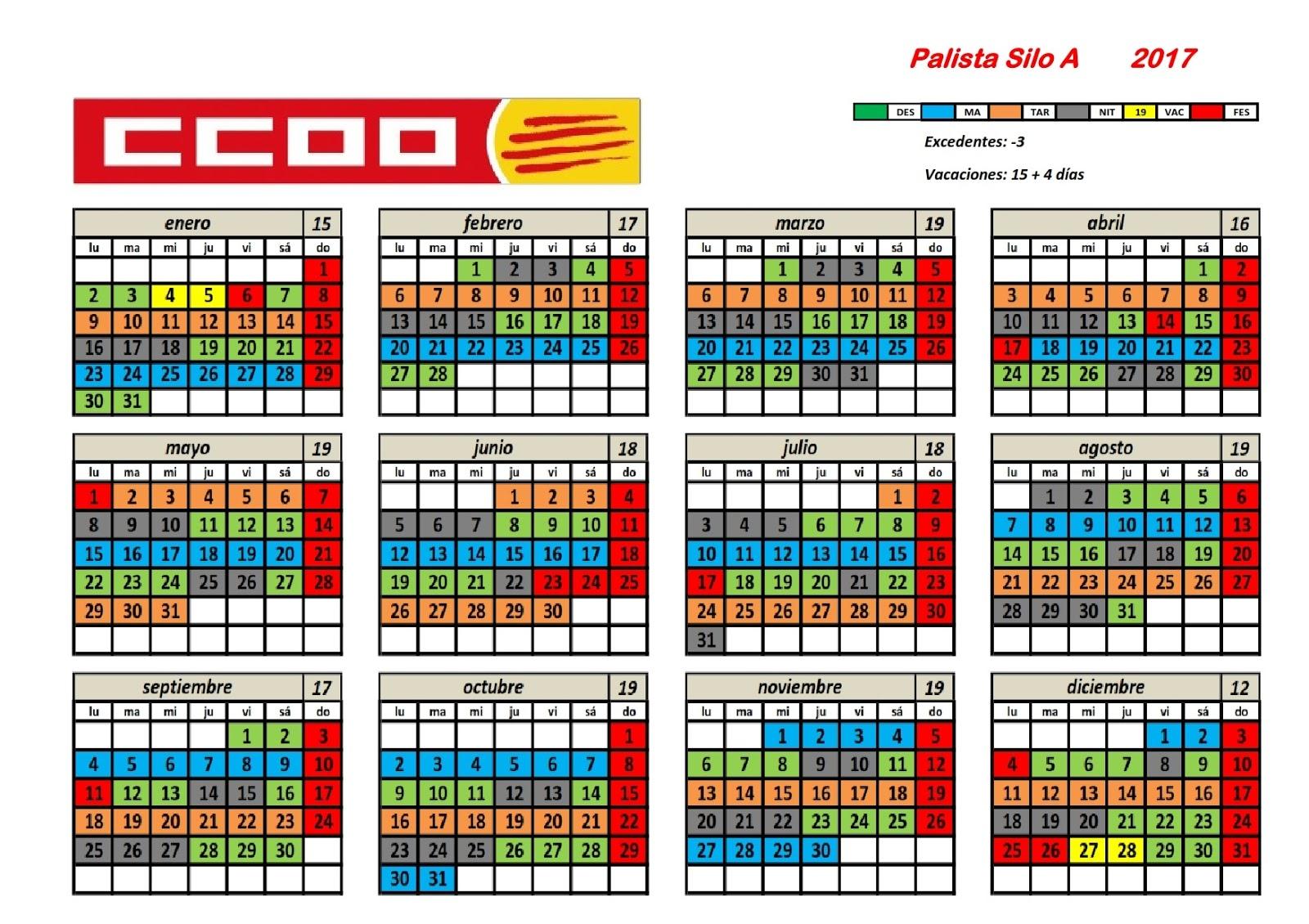 Ccoo iberpotash calendaris 2017 general mina explotaci for Comisiones obreras exterior
