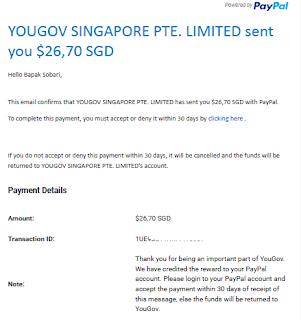 Bukti Pembayaran Dollar Paypal Gratis dari Aplikasi Yougov
