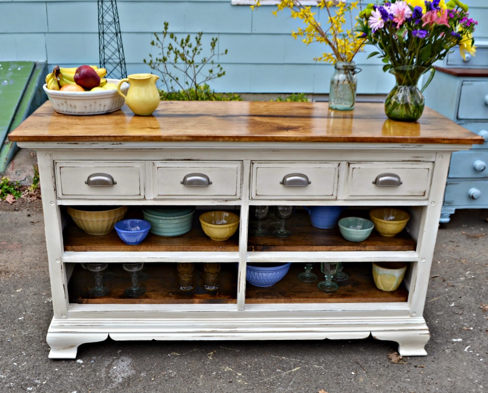 Kitchen Server Hanging Shelves Heir And Space A Vintage Dresser Turned Again I Want To Reiterate That This Is Not The Actual Before Just Similar Bassett From About Same Period