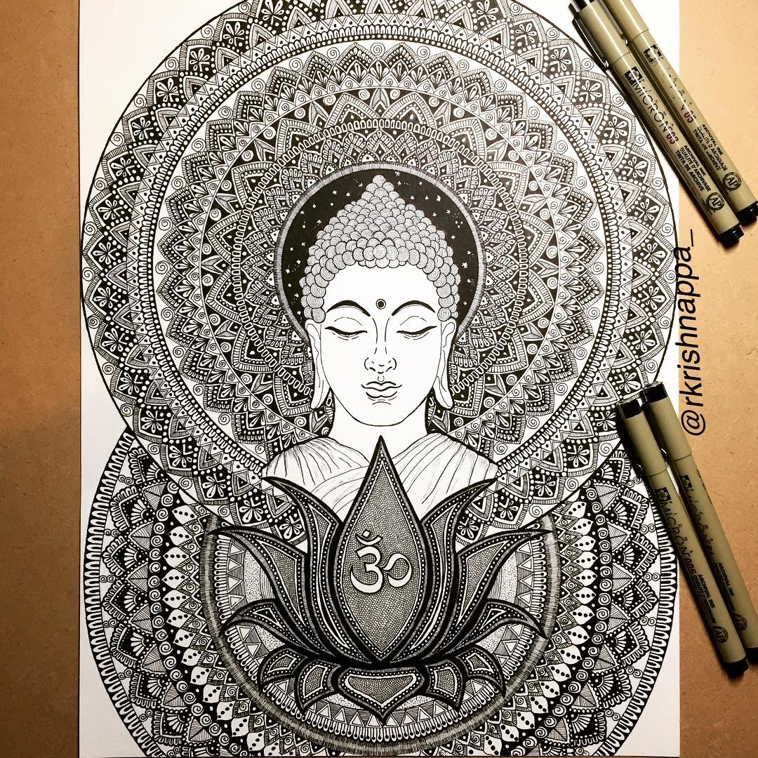 01-Buddha-Rashmi-Krishnappa-Calm-and-Serenity-in-Balanced-Pen-drawings-www-designstack-co