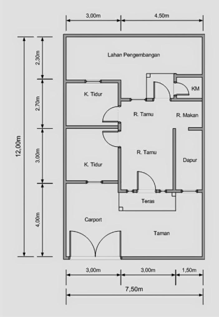 Denah rumah minimalis luas tanah 90m2 - blog berbagi