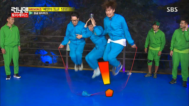 running man Jinu Kim Jong Kook Seon Ji Suk Jin Yoo Jae Suk Lee Gwang Soo Song Ji Hyo Gary Haha cream bomb face off Cave Water Park jump rope korean entertainmnet programs enjoy korea hui jinuseon tell me one more time k pop