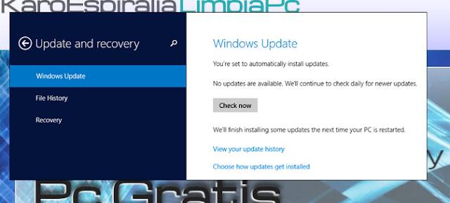 Windows Update en Ajustes de PC