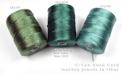 New C-Lon Bead Cord Color Myrtle Green compared  with other C-Lon Bead Cordcolors