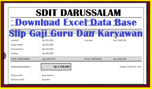 Download Excel Data Base Slip Gaji Guru Dan Karyawan