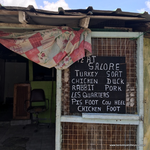cafe menu at Scarborough Market in Scarborough, Tobago