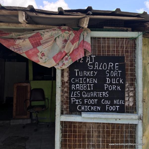 cafe menu at Scarborough Market in Scarborough, Tobago