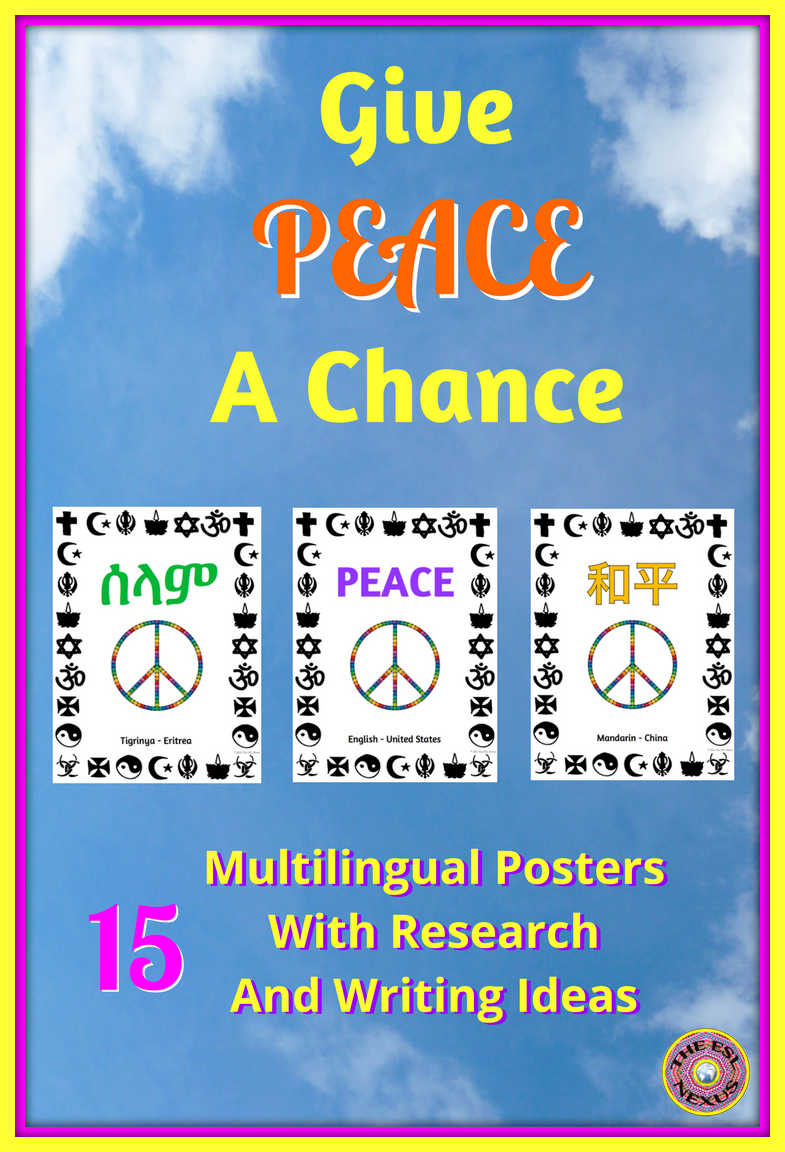 Find Multilingual Peace Posters at The ESL Nexus #KindnessNation & #WeHoldTheseTruths