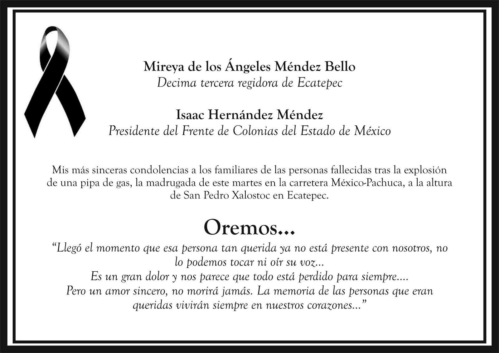 El mexiquense hoy issac hern ndez y mireya m ndez dan for Esquelas funeraria el mueble melide