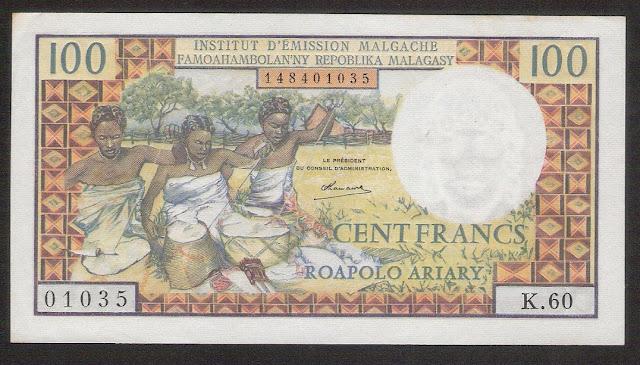 Madagascar banknotes 100 Francs banknote Malagasy paper money