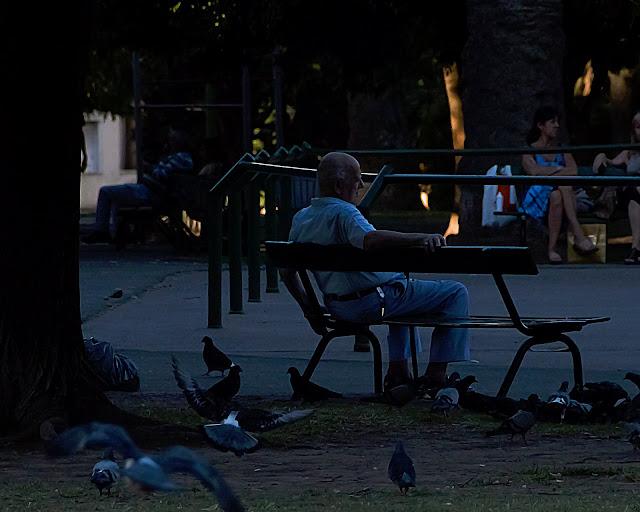 Hombre sentado en banco de plaza al atardecer
