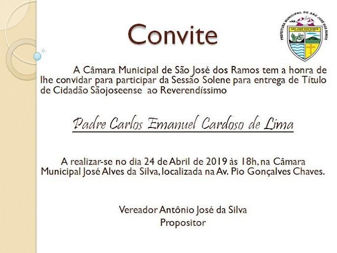 SÃO JOSÉ DOS RAMOS:  Projeto de autoria da Comunidade Católica de São José dos Ramos/PB, juntamente com o vereador Toinho (PMDB).