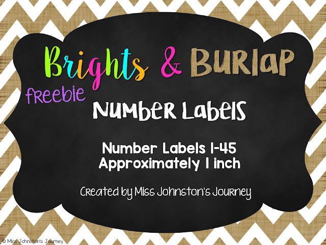 Check out this Brights and Burlap number label freebie by Miss Johnston's Journey