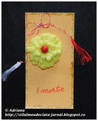 crizanteme din fetri, martisor handmade
