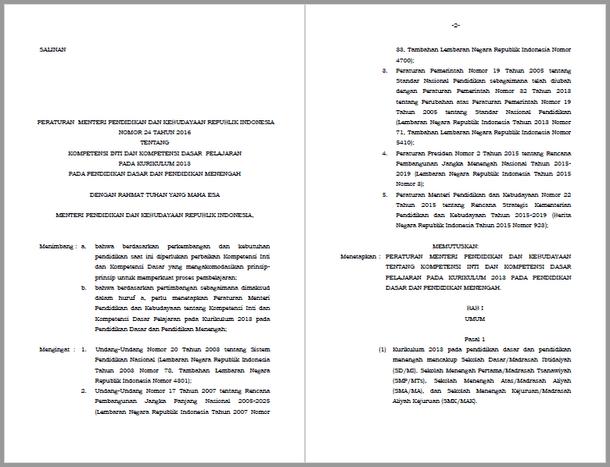 Permendikbud Nomor 24 Tahun 2016 Tentang KI dan KD Kurikulum 2013