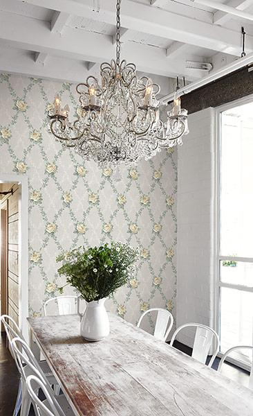 floral trellis wallpaper in cottage style dining room