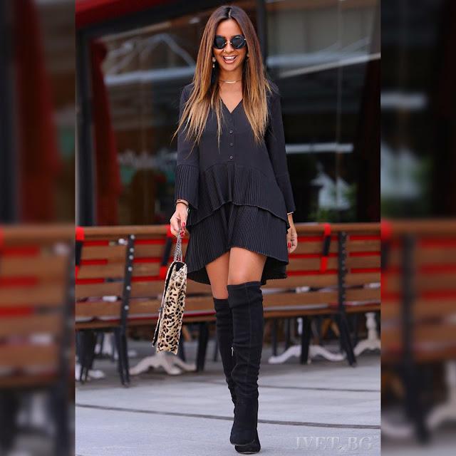 Ασύμμετρο  μαύρο γυναικείο πουκάμισο ALEGRIA BLACK