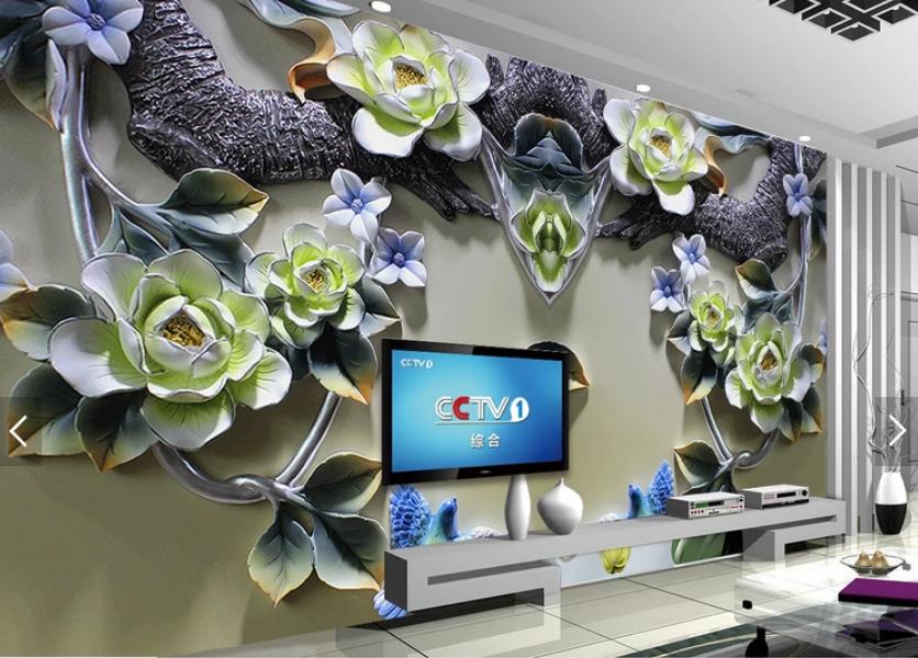 Tranh 3d dán tường hoa mộc lan ngọc bích