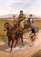 عربة تجرها الخيل للنقل في الماضي