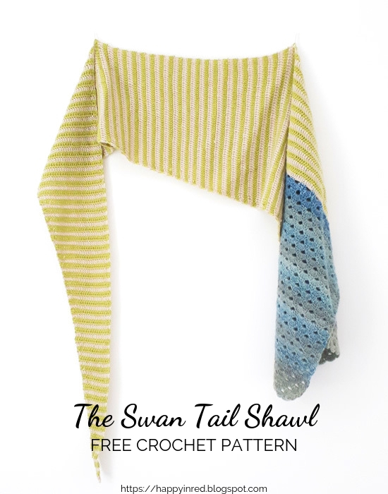 The Swan Tail Shawl, free crochet pattern Scheepjes Our Tribe. By: Happy in Red