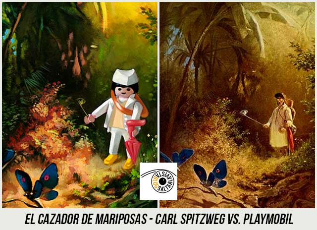 Cuadro-El-Cazador-de-Mariposas-de-Carl-Spitzweg-Hecho-con-Playmobil