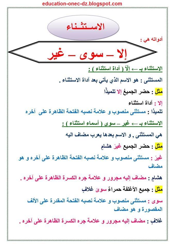 تحضير درس الاستثناء بـ إلا سوى غير في مادة اللغة العربية للسنة الخامسة المكيفة مع الجيل الثاني
