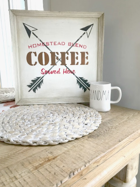 Gel stained Arrow Coffee Sign