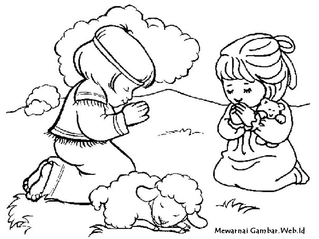 Gambar Sketsa Orang Berdoa Kristen