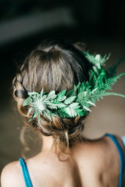 Inspiration coiffure de mariée, couronne végétale, fleuriste mariage Lyon