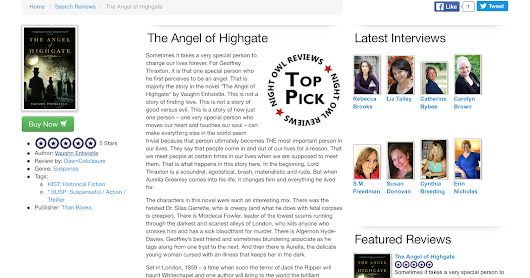Night Owl Suspense Give Five Star Review to The Angel of Highgate