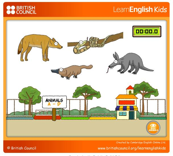 Zoo Animals Memory Game | Games for Beginner ESL students