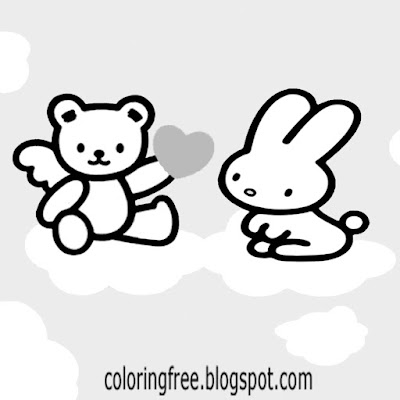 Soft toy teddy bear cute rabbit Hello kitty coloring sheet free adorable printable for teenage girls