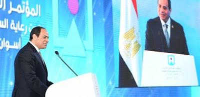 الرئيس عبدالفتاح السيسى خلال إلقاء كلمته بمؤتمر الشباب فى أسوان أمس