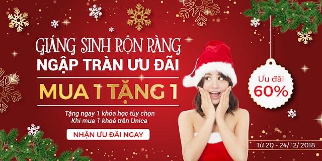 Giáng sinh 2018 - Unica khuyến mãi lên đến 60% - Mua 1 tặng 1