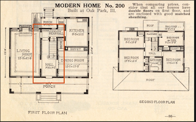 staircase area highlighted on Sears Ivanhoe Sears No 200 floor plan