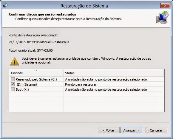 Selecione o disco com a instalação do Windows