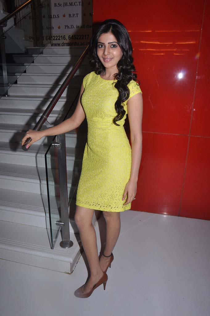 Samantha Legs Show Photos In Yellow Dress