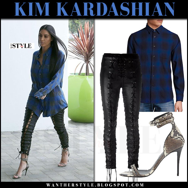 Kim Kardashian in blue plaid shirt rag and bone, black leather lace-up pants unravel and snake print sandals giuseppe zanotti what she wore