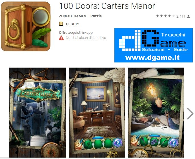 Soluzioni 100 Doors: Carters Manor livello 41 42 43 44 45 46 47 48 49 50 | Trucchi e Walkthrough level
